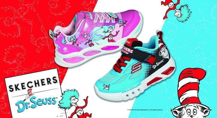 สีสันสดใสและน่ารักบน SKECHERS X Dr. รองเท้าผ้าใบ Seuss